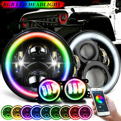 Pair Fit JEEP Wrangler JK TJ LJ Halo RGB 7 LED Headlights DRL Lights Combo KIT $85.99
