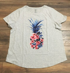 EVRI The Everyday Tee Short Sleeve Plus Size T Shirt Crew Neck Floral Pineapple $12.99
