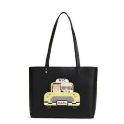 MAYBELLE CAT LARGE SAFFIANO TOTE BAG W CHOUPETTE CAT EMBROIDERY TAXI YELLOW $88.00