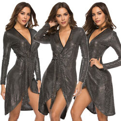 Sexy Women Deep V Neck Sequin Bodycon Short Mini Dresses Long Sleeve Party Gown C $26.85