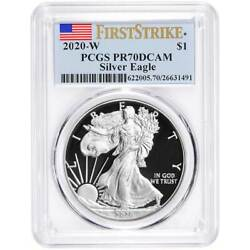 2020-W Proof $1 American Silver Eagle PCGS PR70DCAM First Strike Flag Label $115.00