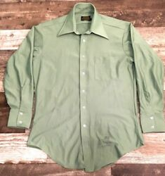 VINTAGE Sears Size LARGE L Perma Prest Green Long Sleeve Button Shirt $17.99
