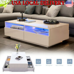 Modern High Gloss White LED Coffee Tea Sofa Side Table with 4 Drawers Furniture $126.86