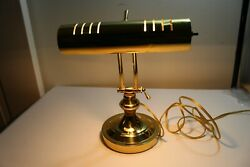 Vintage brass bankers desk piano lamp office mcm antique gold mid century