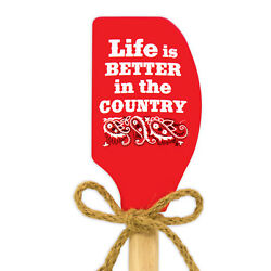 Kitchen Red Silicone Spatula quot;Life is better in the country quot; by Brownlow NEW $8.95