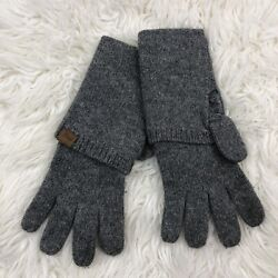 Fossil Gray Cotton Blend Gloves Logo Knit $7.95