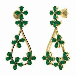 10.5 Carat Natural Green Emerald Chandelier Dangle Earrings in 14k Yellow Gold