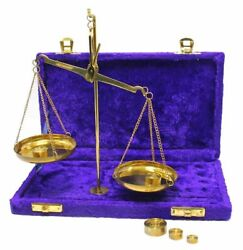 Antique Brass Polished Balance Scale with Velvet Box with Weights Jewelry NEW $18.88