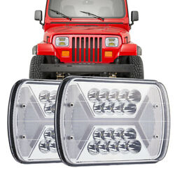 Pair 210W 5x7 7x6 LED Headlights Hi-Lo Beam Halo DRL For  Wrangler YJ MJ $49.27