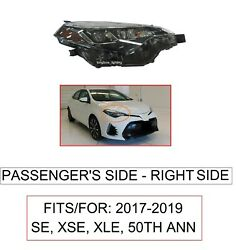 PASSENGER RIGHT SIDE HEADLIGHT FOR FITS 2017 19 TOYOTA COROLLA SE XSE XLE 50TH $163.77