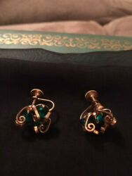 1960s1970s vintage costume earrings - green and gold - nice condition $15.00
