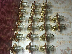 Nautical Large Brass Bulkhead Light With Copper Rain Cap and Junction Box 20 Pcs