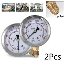 2Pcs Hydraulic Liquid Filled Pressure Gauge 0-3500 PSI 2.5