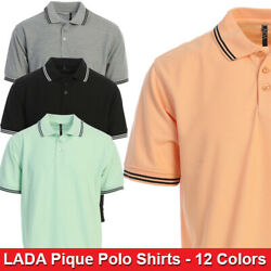 LADA Mens Regular Fit Short Sleeve Solid Pique Polo Shirts - 12 Colors $14.99