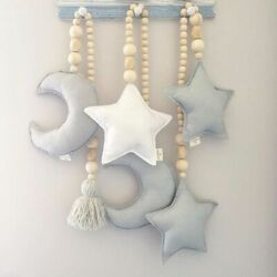 Tent Hanging Wall Pendant Room Cloud Tassel Wooden Beads Kids Room Decoration $7.36