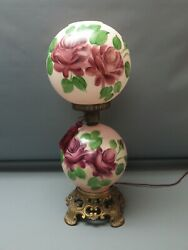Vintage Glass Gone with the Wind Style Pink Rose Parlor Electric Lamp