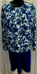 Lands End Womens Pencil Dress Sz 10p Midi Blue Sleeveless With Floral Cardigan  $24.99