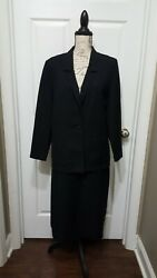 Vintage Donnkenny 2pc Black Skirt Suit Size 14 with pockets $30.00