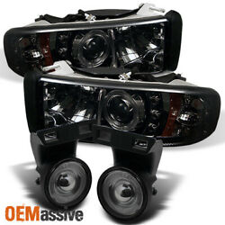 Fits Smk 94-01 Ram Halo Projector Headlights +Halo Projector Fog Lights WSwitch