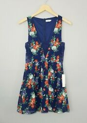 TOBI Womens Blue Floral Sleeveless Lace Trim Fit & Flare Dress Size Small NEW $19.99