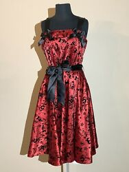 Hell Bunny Gothic Red And Black Tattoo Flock Dress