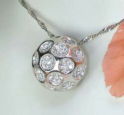 14K SOLID WHITE GOLD  3.72ct SOLITAIRE LOOK DIAMOND STUDDED GOLF BALL PENDANT