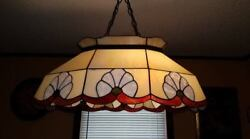 Vintage Stain lead glass Stained Hanging Ceiling Pendant light set keeling $125.00