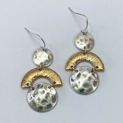 Silver Gold Finished Metal Hammered Circle Shape Mini Drop Dangle Hook Earrings $7.99