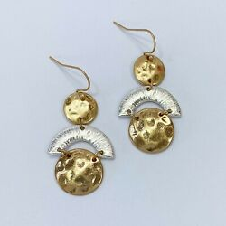 Gold Silver Finished Metal Hammered Circle Shape Mini Drop Dangle Hook Earrings $7.99