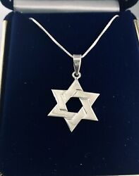 STAR OF DAVID PENDANT CHARM SOLID 925 STERLING SILVER POLISHED FINISH BOX CHAIN $14.99