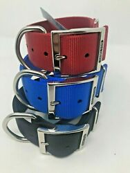 Hamilton 1 3 4quot; Double Nylon HOG DOG COLLAR Choose from Red Black Blue and size $14.99