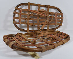VINTAGE UNUSUAL BENT WOOD SNOWSHOES MAYBE LAPPLANDIA SWEDEN COMPACT WELL MADE LN $115.00