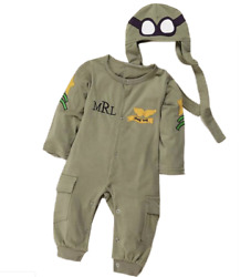 Baby Toddler Boy Air Force Fleece Halloween Costume Jumpsuit Cosplay Clothes $16.99