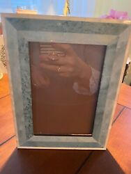 """Natalini Photo Frame Blue and White Wood Marquetry Italy Holds 4x6"""" $15.00"""