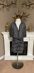 Gottex Black White Belted Sheer Beach Shirt Dress Size M $45.00