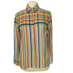 Vintage 60s 70s Sears Womens L Button Up Shirt 70s Rainbow Striped Big Collar $54.95