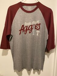 Forty Seven Brand Texas Aamp;M Aggies Gray w Maroon Sleeve Jersey T Shirt XL NWT $10.00