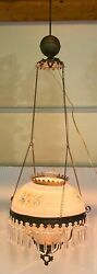Spectacular Antique Chandelier Hanging Lamp Brass Ballamp; Hand Painted Shade $249.00