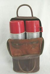 Double Vintage Ribbed Thermos Quart with Leather Case LL Bean $15.99