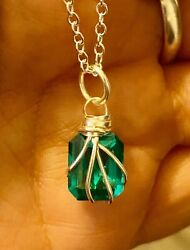 "5.76 Ct Genuine Zambian Emerald 925 Sterling Silver Wire Wrapped Necklace 20""Cha"