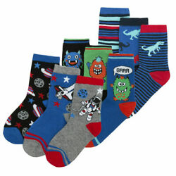 9 Pair Boys Novelty Cotton Rich Socks Dinosaurs Space Stars Monster Skulls New $16.99