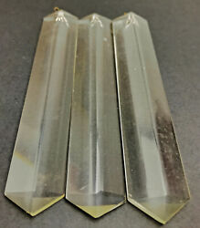 Vintage lot of 3 Glass 3 sided 5quot; Chandelier Spear Prisms $25.95