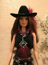 Handmade Jewelry For Barbie Magenta Feathers Cowgirl Hat Belt Necklace Earrings