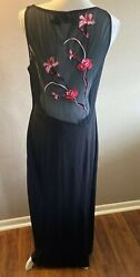 Shape FX Black Maxi Dress Stretchy Size 14 Mesh Embroidered Back $12.50