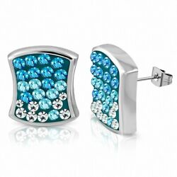 Earrings Square Concave Stainless Steel with Check and Pave Carr