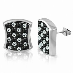 Earrings Square Concave Stainless Steel with Plinths Glass X-Tra