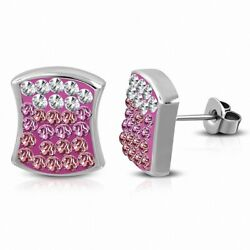 Earrings Square Concave Stainless Steel with Cobblestone Square Dr