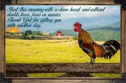 Have A Blessed Day Sign Plaque Gift Sunrise Morning Rooster Farm Country $14.99