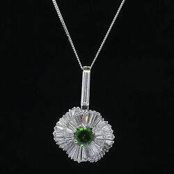 8.50 tcw Green Tourmaline & Baguette Diamond Ballerina Pendant in Platinum $20K