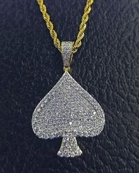 4.63ct NATURAL ROUND DIAMOND 14K SOLID YELLOW GOLD SPADE of CARD PENDANT